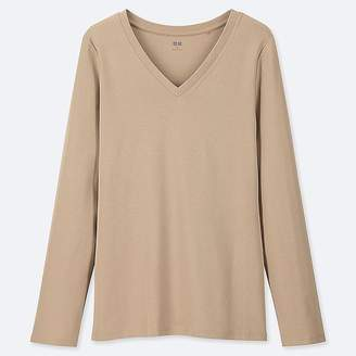 Uniqlo Women's 1*1 Ribbed Cotton V-Neck Long-sleeve T-Shirt