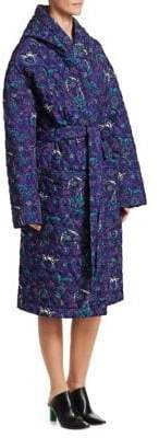 Vetements Quilted Floral Wrap Coat