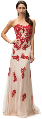 Dancing Queen Strapless Lace Print Sweetheart Long Dress $99 thestylecure.com