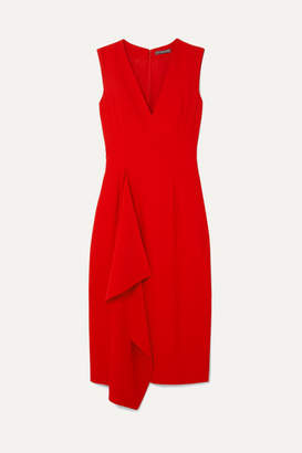 Alexander McQueen Draped Crepe Midi Dress - Red
