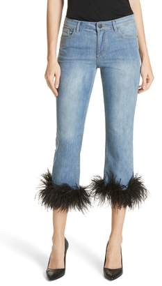 Alice + Olivia Tasha Feather Hem Crop Jeans