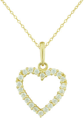 JCPenney FINE JEWELRY Petite Lux Cubic Zirconia 10K Yellow Gold Heart Pendant Necklace