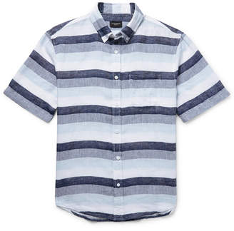 Club Monaco Slim-Fit Button-Down Collar Striped Linen Shirt