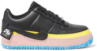 Nike Air Force 1 Jester Xx Color-block Textured-leather Platform Sneakers - Black