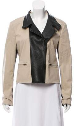 Theory Leather-Accented Zip-Up Jacket