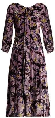 Erdem Zelena Astaire Print Velvet Gown - Womens - Purple Multi