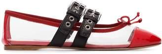 Miu Miu red and black buckle PVC ballerina flats