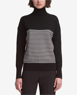 DKNY Striped Turtleneck Sweater
