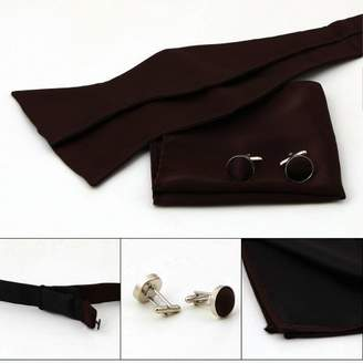 Off-White BT1022 Romance Fashion Brown Self Bow Tie For Him Cufflinks Hanky Set Business Presents With Free Box By Epoint