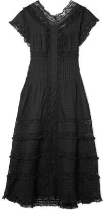 Zimmermann Iris Lace-trimmed Fil Coupé Cotton-voile Midi Dress - Black