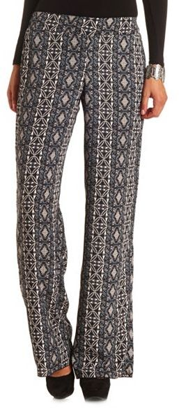 Charlotte Russe Tribal Printed High-Waisted Palazzo Pants