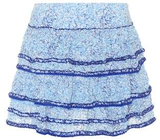 Poupette St Barth Bibi floral-printed tiered skirt