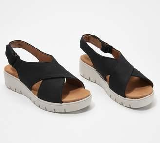 fc5b11a55cfe Clarks Leather Cross- Strap Sandals - Un Karley Sun