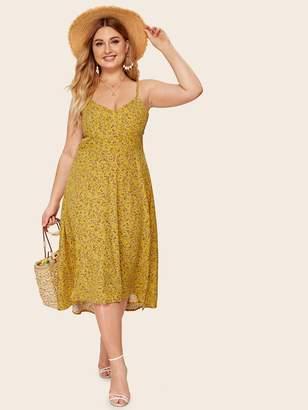 f678cda250 Shein Plus Dip Hem Ditsy Floral Cami Dress