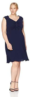 London Times Women's Plus Size Short Sleeve V Neck Fit and Flare Dress