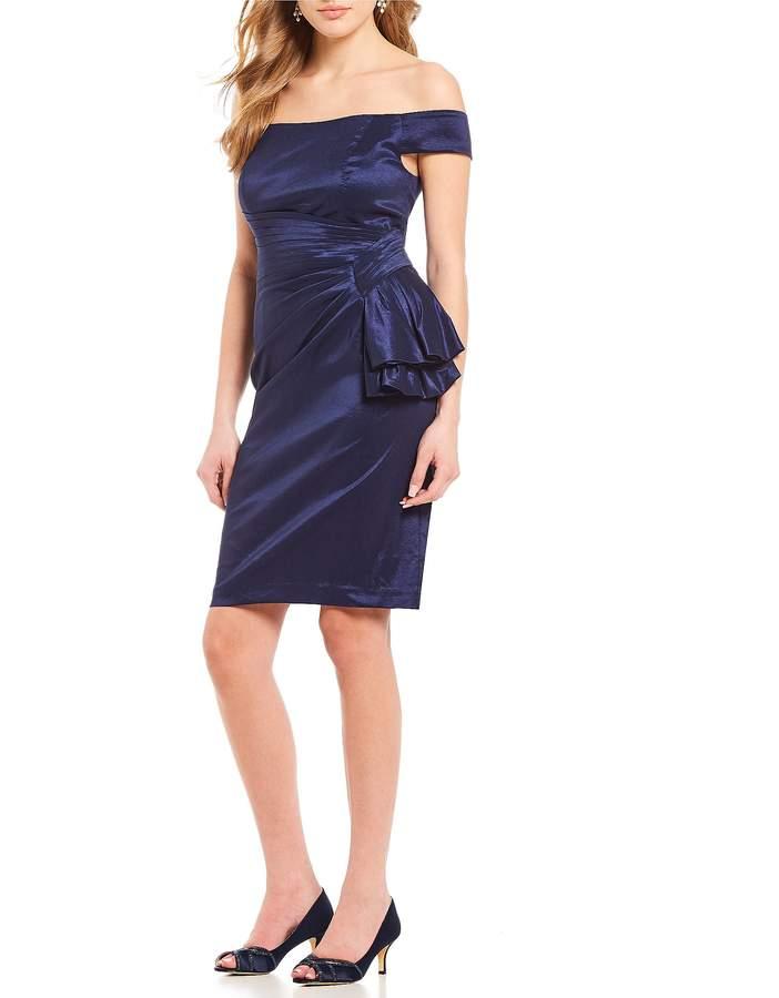 Eliza J Off-the-Shoulder Ruffle Stretch Taffeta Sheath Dress