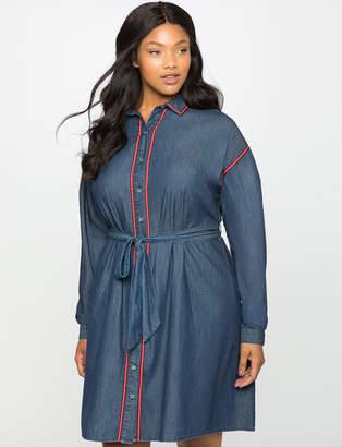ELOQUII Dolman Sleeve Chambray Shirt Dress