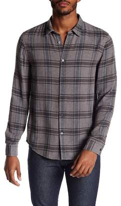 Vince Double Face Plaid Trim Fit Shirt