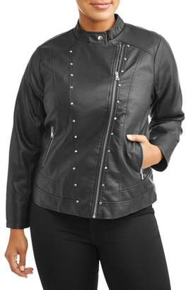 New Look Women's Plus Size Leather Jacket with Assymetrical Zip
