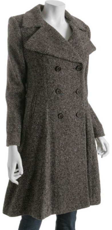 DKNY brown wool herringbone double breasted coat