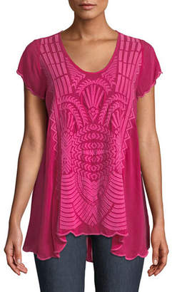Johnny Was Lamonay Short-Sleeve Georgette Top, Plus Size