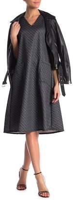 Couture Go V-Neck Pocket Patterned Dress