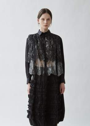 Noir By Kei Ninomiya Cotton and Lace Foil Print Blouse