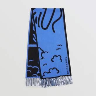 Burberry Street Art Wool Cashmere Jacquard Scarf, Blue