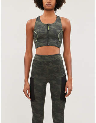 Good American The Power camouflage-print stretch-jersey sports bra