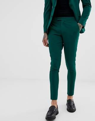 Asos Design DESIGN super skinny tuxedo suit pants in jasper green