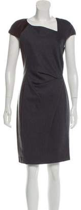 J. Mendel Leather-Accented Knee-Length Dress Grey Leather-Accented Knee-Length Dress