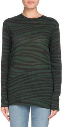 Proenza Schouler Crewneck Long-Sleeve Tiger-Print Top