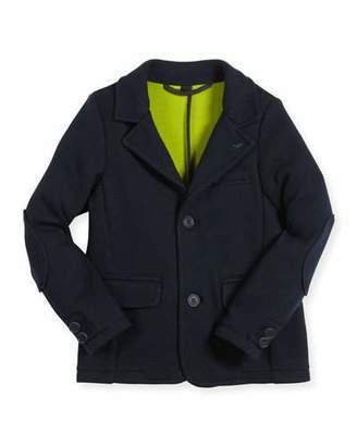 Armani Junior Classic Knit Jersey Blazer, Navy, Size 12M-3 $310 thestylecure.com