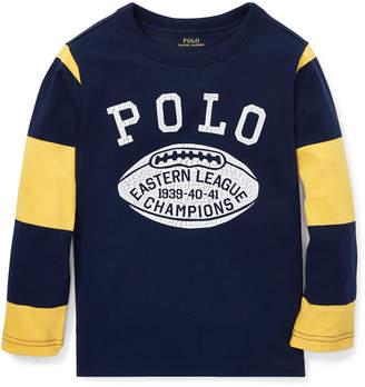 Ralph Lauren Polo Football Striped-Sleeves T-Shirt, Size 2-4