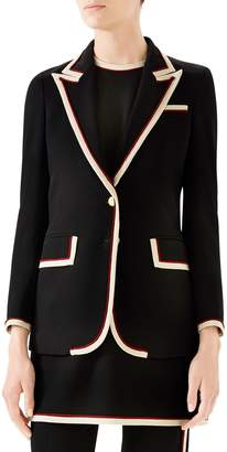 Gucci Peak Lapel Stretch Cady Blazer