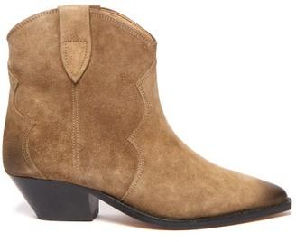 Isabel Marant Dewina Western Suede Boots - Womens - Khaki