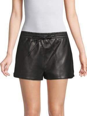 Valentino Drawstring Leather Shorts