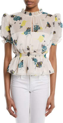 Self-Portrait Self Portrait Puff-Sleeve Floral-Print Peplum Blouse