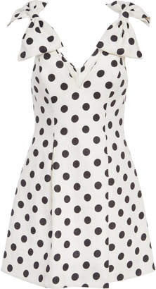 Zimmermann Bow-Detailed Polka-Dot Linen Mini Dress