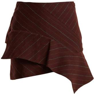 Isabel Marant Kimura Striped Linen Blend Mini Skirt - Womens - Burgundy