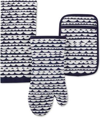 Kate Spade Scallop Row Kitchen Towel, Oven Mitt & Potholder 3-Pc. Set