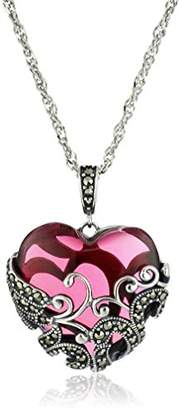 Glass Heart Sterling Silver Oxidized Genuine Marcasite and Swiss Topaz Colored Glass Filigree Heart Pendant Necklace
