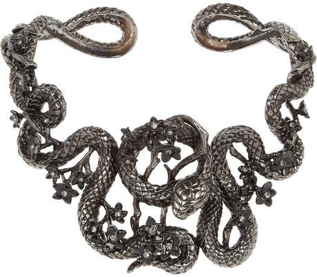 Roberto Cavalli Snake Flowers ruthenium-plated Swarovski crystal collar necklace