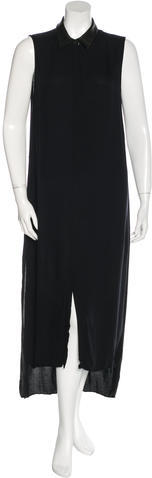 Alice + Olivia Alice + Olivia Leather-Accented Maxi Dress