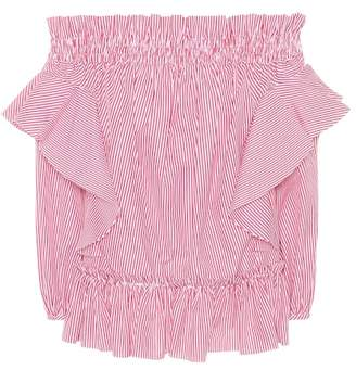 Alexander McQueen Striped off-the-shoulder cotton top