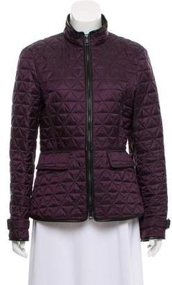 Burberry Leather-Trimmed Quilted Jacket