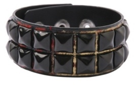 Red Snakeskin Black Pyramid Stud Wristband