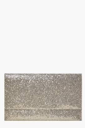 boohoo Fold Over Glitter Clutch
