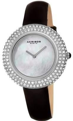 Akribos XXIV Silver Tone Dress Quartz Watch With Leather Strap [AK1049SSB]