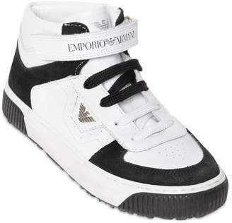 Emporio Armani Leather & Suede High Top Sneakers